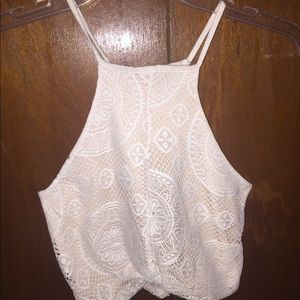 Tops - Lace white crop top